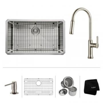 "Kraus 30""  Undermount Single Bowl SS Sink W/ Pull Down Faucet & SD Stainless Steel"