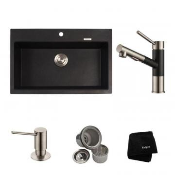 "Kraus 31.2"" Dual Mount Single Bowl Sink W/ Pull Out Faucet & SD Stainless Steel"
