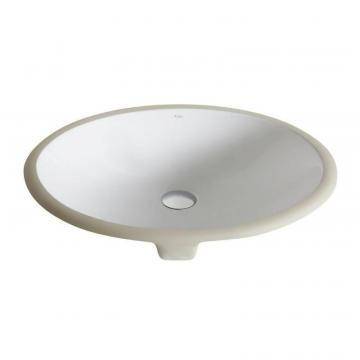 Kraus Elavo Small Ceramic Oval Undermount Bathroom Sink with Overflow in White