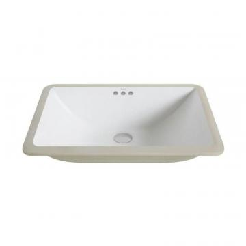 Kraus Elavo Large Ceramic Rectangular Undermount Bathroom Sink with Overflow in White