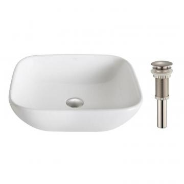 Kraus ElavoWhite Ceramic Soft Square Vessel Sink with Drain Brushed Nickel