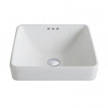 Kraus ElavoWhite Ceramic Square Semi-Recessed Vessel Sink with Overflow
