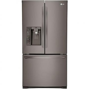 LG 24 Cu. Ft. Large-Capacity Counter-Depth 3-Door French Door Refrigerator - Black Stainless Steel