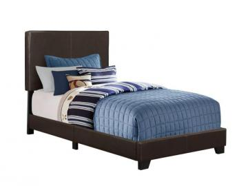 Monarch Bed - Twin Size / Dark Brown Leather-Look Fabric