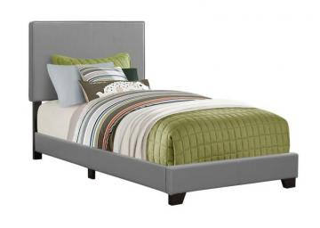 Monarch Bed - Twin Size / Grey Leather-Look Fabric