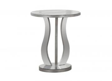Monarch End Table - 20 Inch Dia / Brushed Silver / Mirror