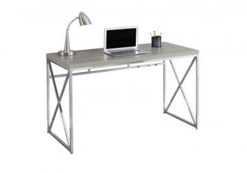 Monarch Computer Desk - 48 Inch L / Dark Taupe / Chrome Metal