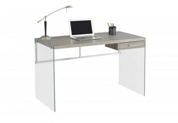 Monarch Computer Desk - 48 Inch L / Dark Taupe / Tempered Glass