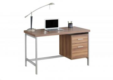 Monarch Computer Desk - 48 Inch L / Walnut / Silver Metal