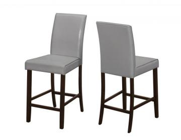 Monarch Dining Chair - 2Pcs / Grey Leather-Look Counter Height