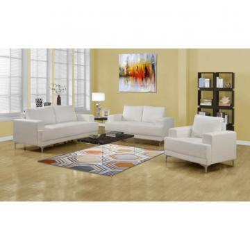 Monarch Love Seat - Ivory Bonded Leather