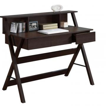 Corliving Folio Modern Wenge Three Drawer Desk With Low Profile Hutch