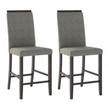 Corliving Bistro Dining Chairs In Pewter Grey Fabric, Set Of 2