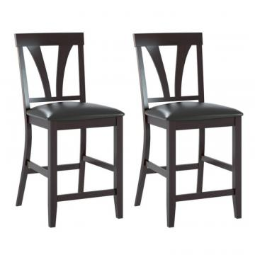 Corliving Bistro Dining Chairs In Chocolate Black Bonded Leather, Set Of 2