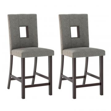 Corliving Bistro Dining Chairs In Grey Sand Fabric, Set Of 2