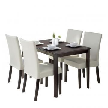 Corliving Atwood 5pc Dining Set, With Cream Leatherette Seats
