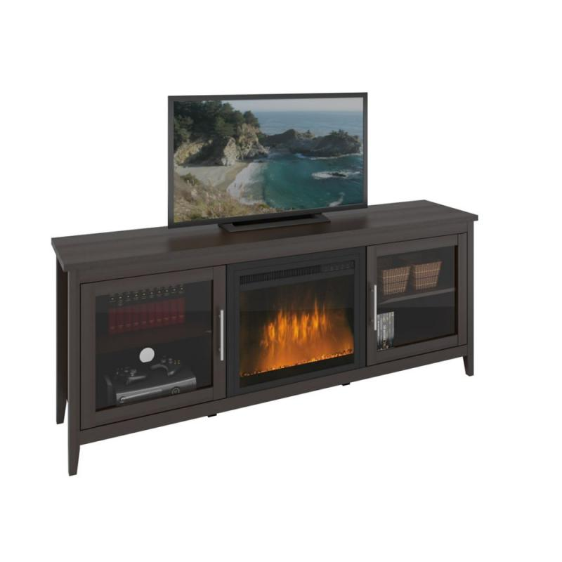 Corliving Jackson Espresso Fireplace TV Bench, For Tvs Up To 80 Inch