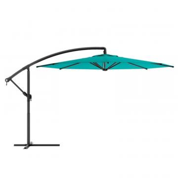 Corliving Offset Patio Umbrella in Turquoise Blue