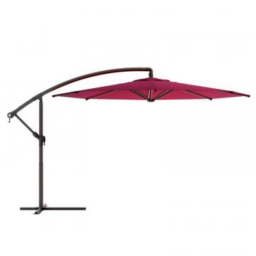 Corliving Offset Patio Umbrella in Wine Red