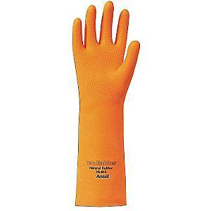 Ansell Chemical Resistant Gloves, Flock Lining, Orange