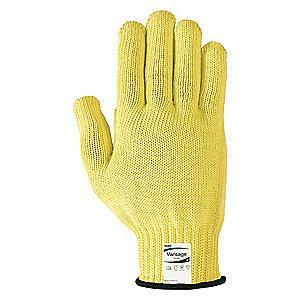 Ansell Uncoated Cut Resistant Gloves, ANSI/ISEA Cut Level 4, Kevlar Lining, Yellow, 10