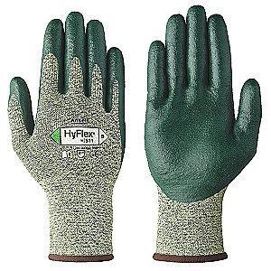 Ansell Nitrile Cut Resistant Gloves, ANSI/ISEA Cut Level 4, Stainless Steel Lining, Green, Yellow, M