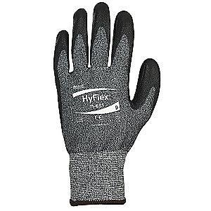 Ansell Polyurethane Cut Resistant Gloves, ANSI/ISEA Cut Level 3, HPPE, Lycra Lining, Black, Gray, 10