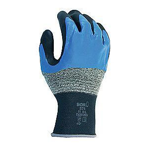 Showa 13 Gauge Coated Gloves, Black/Blue/Gray