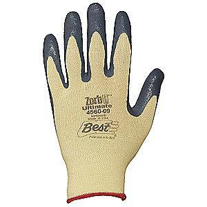 Showa Nitrile Cut Resistant Gloves, Cut Level 3, Kevlar Lining, Gray, Yellow, XS, PR 1