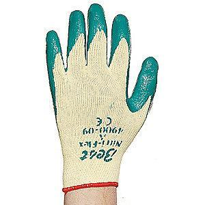 Showa Nitrile Cut Resistant Gloves, Cut Level 3 Lining, Green, Yellow, XL, PR 1