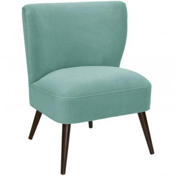 Skyline Curved Armless Chair In Velvet Caribbean