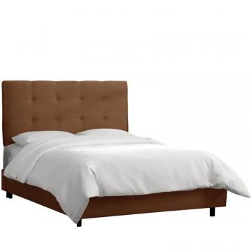 Skyline Queen Tufted Bed In Premier Chocolate