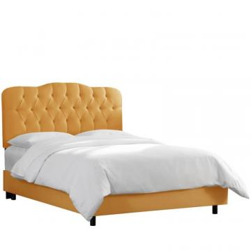 Skyline Twin Tufted Bed In Shantung Aztec