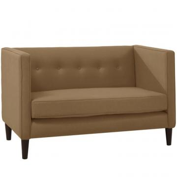 Skyline Five Button Loveseat In Linen Taupe