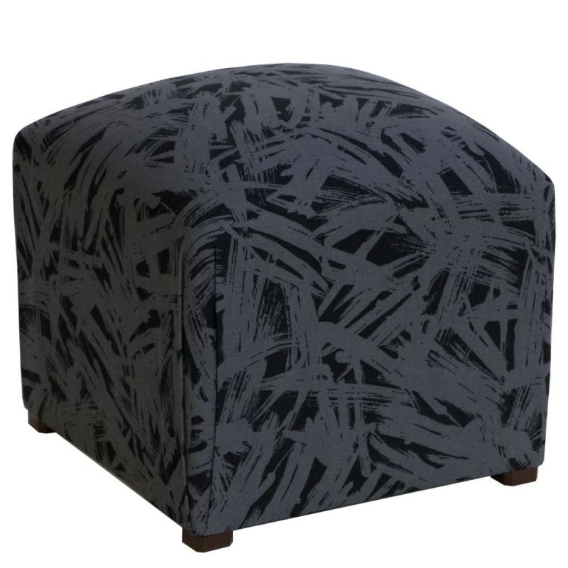 Skyline Small Ottoman In Urbano Charcoal