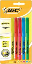 BIC Brite Liner Highlighter Pens - Pack of 5 Assorted Colours