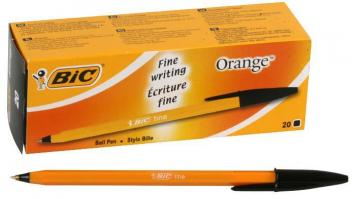 BIC Fine Tip Cristal Orange Ballpoint Pens - Pack of 20 (Black)