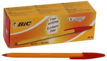 BIC Fine Tip Cristal Orange Ballpoint Pens - Pack of 20 (Red)