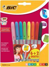 BIC Bullet Tip Marking Color Permanent Marker Pens - Pack of 8 Assorted Colours