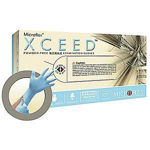 "Microflex 9-1/2"" Powder Free Unlined Nitrile Disposable Gloves, Blue, Size  M, 250PK"