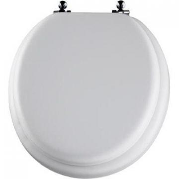Bemis Mayfair Round Cushioned Vinyl Soft Toilet Seat, Chrome Hinge, White