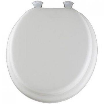 Bemis Mayfair Round Cushioned Vinyl Soft Toilet Seat, Easy-Clean & Change  Hinge, White
