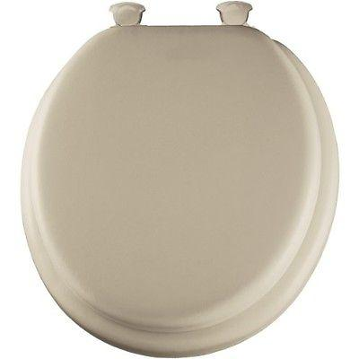 Bemis Mayfair Round Cushioned Vinyl Soft Toilet Seat, Easy-Clean & Change  Hinge, Bone