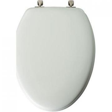 Bemis Mayfair Elongated Molded Wood Toilet Seat, Brushed-Nickel Hinge, White