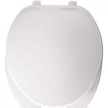 Bemis Elongated Commercial Plastic Open Front, Cover Toilet Seat, Top-Tite  Hinge, White