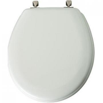 Bemis Mayfair Round Molded Wood Toilet Seat, Brushed-Nickel Hinge, White