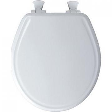 Bemis Toilet Seat, Round, Whisper Close, White Wood