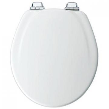 Bemis Mayfair Molded Wood Toilet Seat, Whisper-Close  Chrome Hinge, Round, White