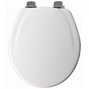 Bemis Mayfair Round Molded Wood Toilet Seat, Whisper-Close  Brushed-Nickel Hinge, White