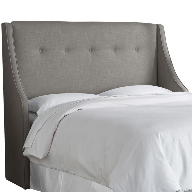 Skyline Full Button Tufted Wingback Headboard In Linen Grey